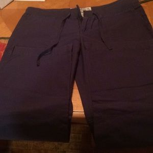 Casual blue pants roomy with tie string